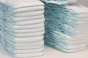 New born baby diapers stacks ready to use. Photo taken on Febrary 12, 2015.